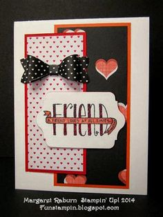 Fun Stampin' with Margaret! CCMC336. Real Red, Calypso Coral & Basic Black. Banner Blessings set, Bow Builder Punch & Stacked with Love DSP.