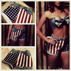 DIY American Flag shorts I made with a matching top I made from the legs of the cut off jeans :)