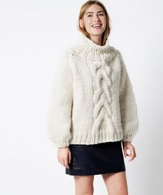 Cropped Cable Sweater Kit / patron tricot pull / knitting kit