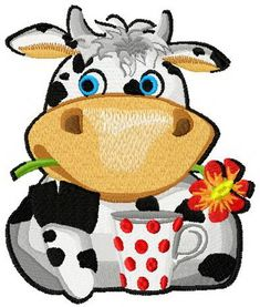 Lovely cow machine embroidery design. Machine embroidery design. www.embroideres.com