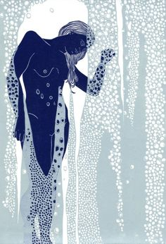 Nude Behind Shower Glass, Linocut by Ellen Von Wiegand | Artfinder