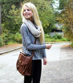 Get this look (sweater, scarf, purse) http://kalei.do/WWCNfXOniFx5QGiv