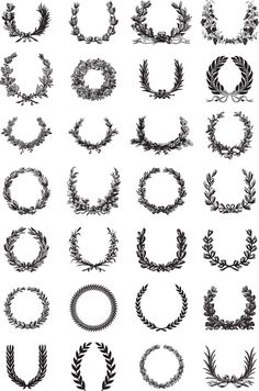 Ornate Wreath Vector Set icons painting drawing resource tool how to tutorial instructions Tattoo Couronne, Acab Tattoo, Crest Tattoo, Tattoo Fonts, Totenkopf Tattoos, Tatuagem Old School, Wedding Logos, Wedding Invitations, Free Vector Graphics
