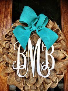 Burlap Wreath - Initial Wreaths for door - Spring Door wreath - Monogram Wreath - Vine Custom Monogram ~ Tiffany Burlap Bow