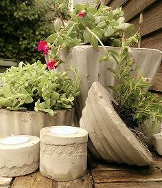 diy concrete and cement planters and candle holders, concrete masonry, container…
