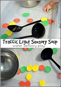 Traffic Light Sensory Soup {Water Sensory Play} Traffic light inspired water sensory activity for kids - Play and Learn Activity Community Helpers Activities, Police Activities, Eyfs Activities, History Activities, Toddler Activities, Airplane Activities, Indoor Activities, Summer Activities, Family Activities
