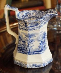 Antique Blue and White Creamer Victorian Design, Pattern Making, Vintage Antiques, Blue And White