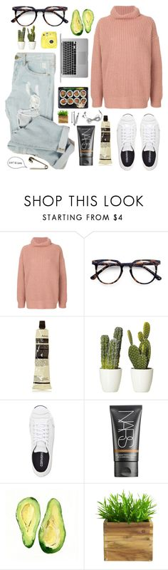 """don't be dumb."" by schaks ❤ liked on Polyvore featuring Barena, Ace, Aesop, Converse, NARS Cosmetics, Fuji and BOBBY"
