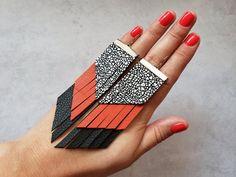 Black and orange red tassel earrings large leather earrings | Etsy