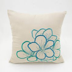 Lotus Decorative Throw Pillow Cover Beige Linen by KainKain - Home decor - Teal Throws, Teal Throw Pillows, Beige Pillows, Floral Throw Pillows, Couch Pillows, Decorative Pillows, Cream Pillow Covers, Throw Pillow Covers, Pillow Cases
