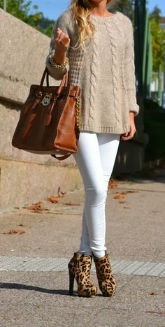 Wire Knit Sweater With White Jeans and Leopard Heels and Brown Handbag