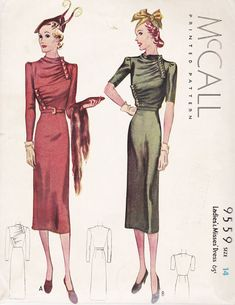 Svelte, elegant; almost too drily well-mannered, but that makes it look all the more vintage 1930s. McCall 9559 | 1930s