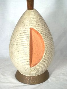 MID CENTURY MODERN OVOID CERAMIC HALF MOON LAMP ON WOOD BASE #ArtModerne  email-4winds@myfairpoint.net