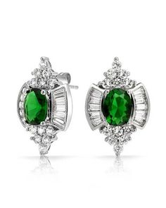 Bling Jewelry Baguette Cz Simulated Emerald Stud Earrings Rhodium Plated