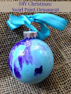 12 Days of DIY Christmas Ornaments: Swirl Paint Ornament for Easy Christmas Home Decor