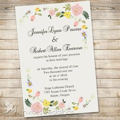 very inexpensive Spring Floral Garden Wedding Invitations IWI307