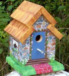 "Birdhouse Irish Cottage Painted Stone, by Karen of ""Rachael's Garden"" Etsy shop $58.  ~  bird house thatched roof shabby chic outdoor garden art"