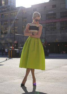 stripes and chartreuse make for a perfect spring combo {love a classic midi skirt too}