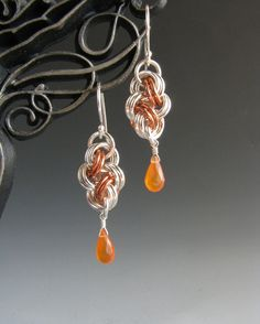 Chain maille earrings on Etsy
