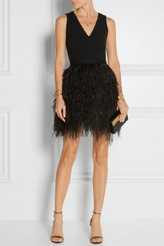Alice + Olivia | Kiara crepe and feather-embellished organza mini dress | NET-A-PORTER.COM