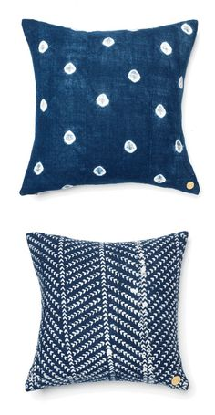 navy + white accent pillows