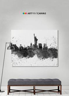New York canvas print, NY watercolor skyline canvas, New York black and white, Art print, Home decor, Travel print, Wall art, ArtPrintCanvas