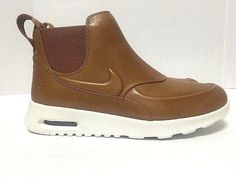 4840c3693e0450 Nike Womens Air Max Thea Mid Shoes Boots Tan Leather 859550-200
