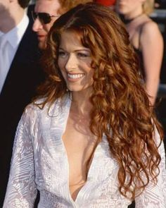 "Debra Messing - wow, I wish I could wear my shirt open to my waist like that. Debra Messing - wow, I wish I could wear my shirt open to my waist like that. can u say ""peek-a-boo?""Super süße lockige Frisuren Trend im Jahr 2019 Beautiful Red Hair, Beautiful Redhead, Curly Hair Styles, Natural Hair Styles, Frontal Hairstyles, 80s Hairstyles, Hairstyle Men, Light Brown Hair, Curly Wigs"