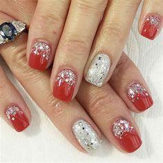 70 Stylish Square Christmas Nail Designs You Will Love Red And Silver Nails, Silver Nail Art, Silver Glitter Nails, Red Acrylic Nails, Glitter Nail Art, Pink Nails, Red Christmas Nails, Xmas Nails, Christmas Nail Designs