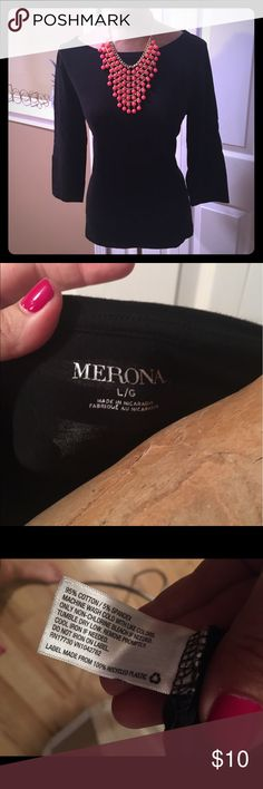 Black boat neck top Black top. Merona. Boat neck. 3/4 sleeves. Worn once. Merona Tops Tees - Long Sleeve