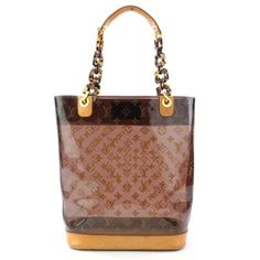 I found one just like this but fake of course for 6.00 treasure hunting yesterday.  I put all my running accessories such as i phone armband, ear buds, gloves....in it and hung it on my hall tree.  LOVE  IT!!!!  Louis Vuitton Monogram Ambre Clear Tote Handbag - M92501