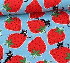 Canvas - Erdbeeren - Katzen - Tréfle - KOKKA - Hellblau
