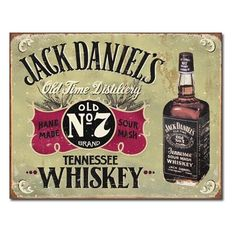 Jack Daniels Hand Made Whiskey Tin Sign