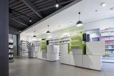 Pharmacie De Courrèges – Cancale | Agence UH Retail Architecture, Architecture Design, Medical Office Design, Commercial, French Door Refrigerator, Pharmacy, Showroom, Kitchen Appliances, Store