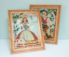 Matching Pair of Vintage Paint By Number Paintings Featuring a Man & Woman in Provincial European Folk Costumes