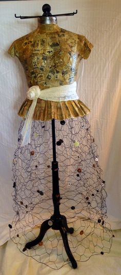 Coat rack made with Chicken Wire and Dress Form