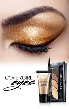 'Tis the season for gold shimmer and shine. Try this simple step-by-step tutorial to beautify your eyes for any holiday party. Step 1: Use finger to dab Bombshell Shineshadow in Gold Goddess on to eyelid. Blend upward into creases. Step 2: Use COVERGIRL's Eyeshadow Quads in Go For The Golds and sweep shade 2 on eyelid above lash line. Step 3: Draw a sleek line using Intensify Me! Liquid Liner in Intense Black above lash line ending in a wing tip.