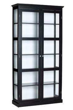 3999:- Ellos -af lakeret MDF og transparent glas. Glas på hele kortsidend er slipper lys ind . Mål: 195x35x100 cm.