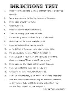 FREE Directions Test - Prank - Prank meme - - Directions Test- this one's a classic! The post FREE Directions Test appeared first on Gag Dad. First Day Of School Activities, 1st Day Of School, Beginning Of The School Year, Listening Activities For Kids, Critical Thinking Activities, Middle School Tips, Team Building Activities For Adults, Get To Know You Activities, Team Building Games