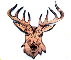 Stag Wall Hanging pyrography wood burning deer by GlenoutherCrafts
