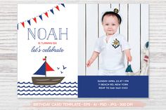Birthday Photo Card Template by Pixejoo on Creative Market