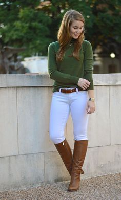 green turtleneck + ivory skinny jeans + riding boots