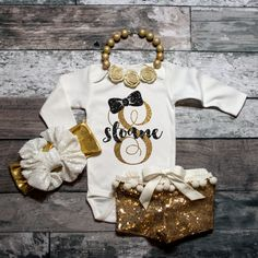 Personalized Baby Name Bodysuit Monogram by ShopVivaLaGlitter