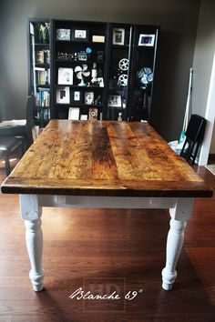 Harvest Table   Wide   Premium Epoxy/ Matte Polyurethane Finish   Reclaimed  Threshing Floor Board Top   White Skirting And Legs   Two Leaves [making  Total ...