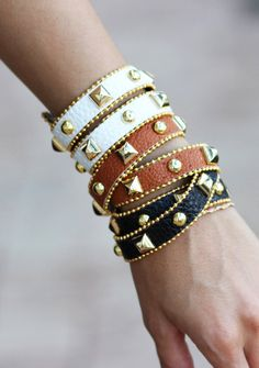 Studded bracelets.