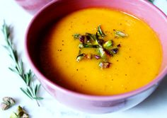 Carrot, Apple and Rosemary Soup with Pistachio Topping - If have time, bake at 340-50F for a little longer time. I add more apples. For 1 lb of carrots, I use 2.5 to 3 med sized apples. I usually use green apples, but any work.  For 21 Day Fix, I use less olive oil.