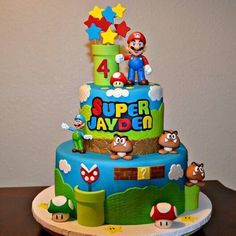 Baby boy birthday cake super mario new ideas Mario Birthday Cake, Baby Boy Birthday Cake, Super Mario Birthday, Boy Birthday Parties, 7th Birthday, Birthday Ideas, Bolo Do Mario, Bolo Super Mario, Mario Bros.