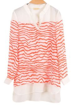 Red Striped Long Sleeve V-neck Chiffon Blouse US$24.43