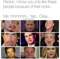 """I love them because of their incredible acting, amazing personality, and talents. Not just because they """"look good."""" Looks don't always matter. Marvel Jokes, Marvel Actors, Marvel Funny, Marvel Dc Comics, Marvel Heroes, Marvel Avengers, Robert Downey Jr, Spiderman, Dc Memes"""