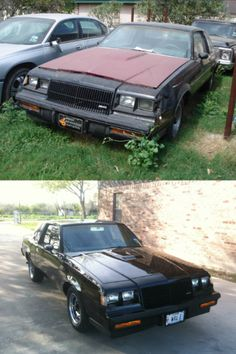 Nice Restore: Project #17. Before & After. 1985 Buick Grand National, found abandoned in a field.